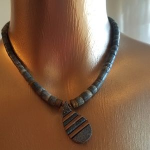 Jewelry - Brown, Gray, White Clay Bead Necklace